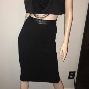 Bebe sexy pencil skirt with leather trim. Nwot med